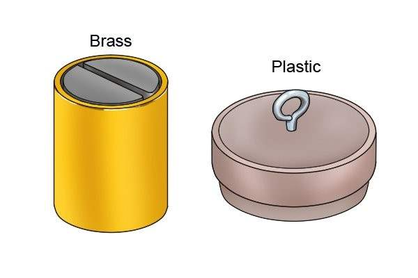 Brass and plastic shell on a pot magnet