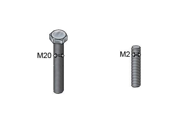 M20 threaded bolt and an M4 threaded stud