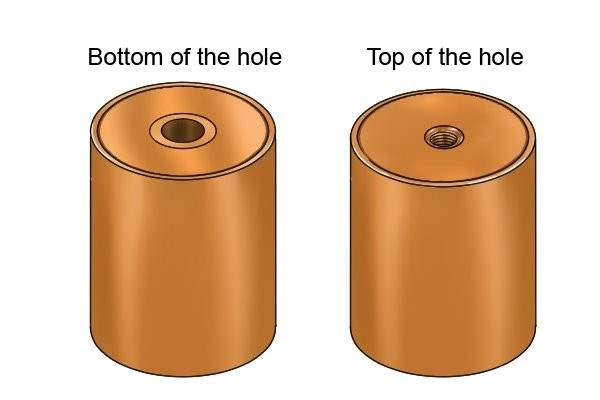 Top and bottom of an internal threaded pot magnet