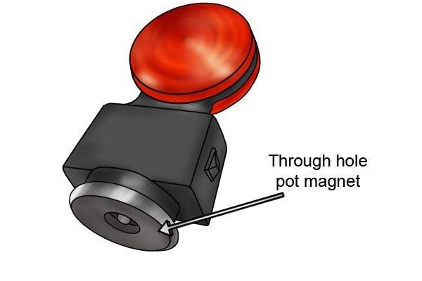 Tow light kit with a through hole pot magnet attached