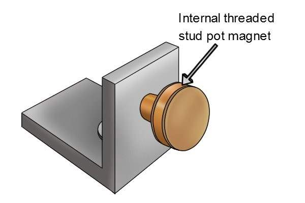 Internal threaded stud pot magnet being used as a door stop