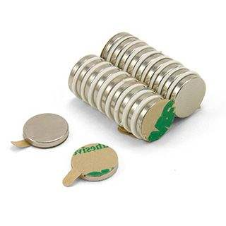 Adhesive 12mm dia x 2mm thick N42 Neodymium Magnet - 1.6kg Pull
