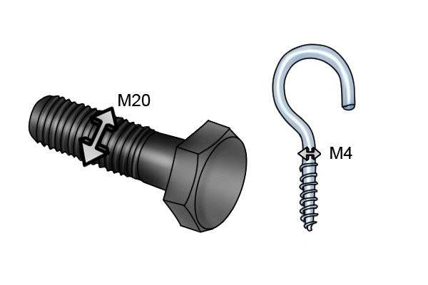 M4 and M20 diameter bolt and hook screw