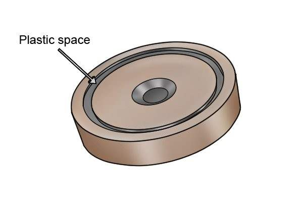 Plastic spacer on countersunk shallow pot magnet