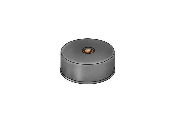Rubber coated internal threaded pot magnet