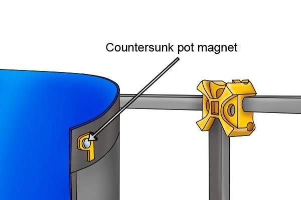 Countersunk pot magnet attached to an exhibition display sign