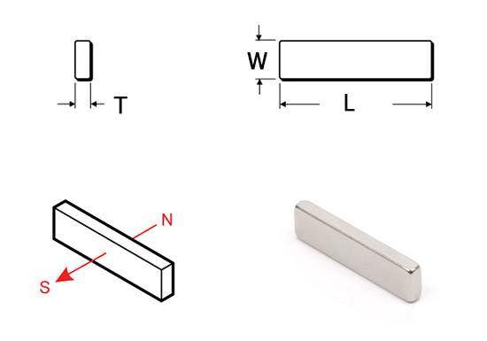 Drawing of Neodymium Block magnets