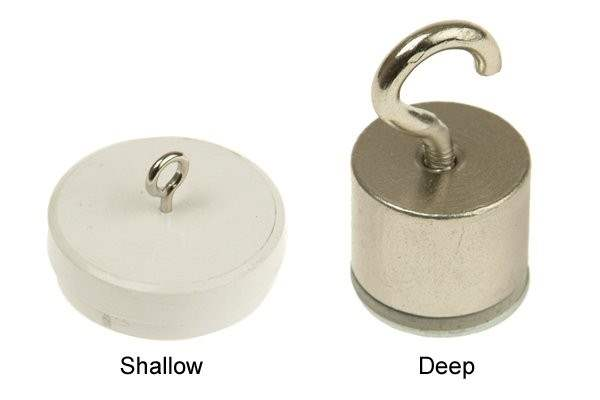 Shallow and deep internal threaded pot magnets