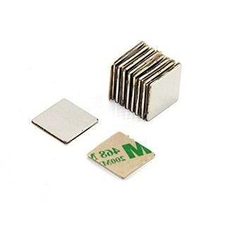 Adhesive 15 x 15 x 1mm thick N42 Neodymium Magnet - 1.2kg Pull