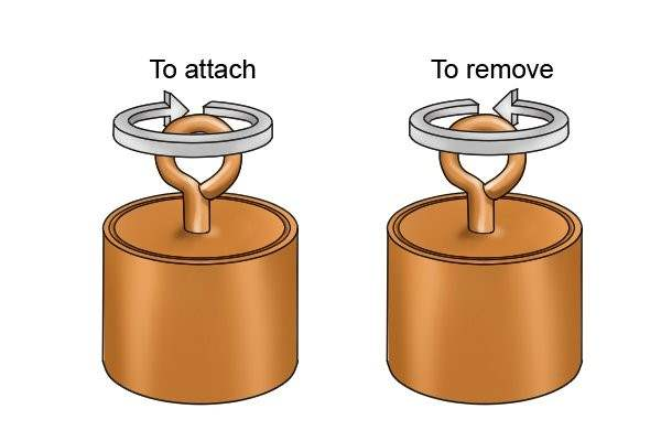 Attaching and removing internal threaded pot magnet