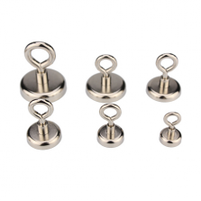 Neodymium Pot Magnets - Threaded Eye Hook
